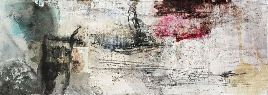Leave it all Behind | (94.5 x 23 in) | charcoal, graphite, ink, acrylic, paper and mixed media on canvas | SOLD