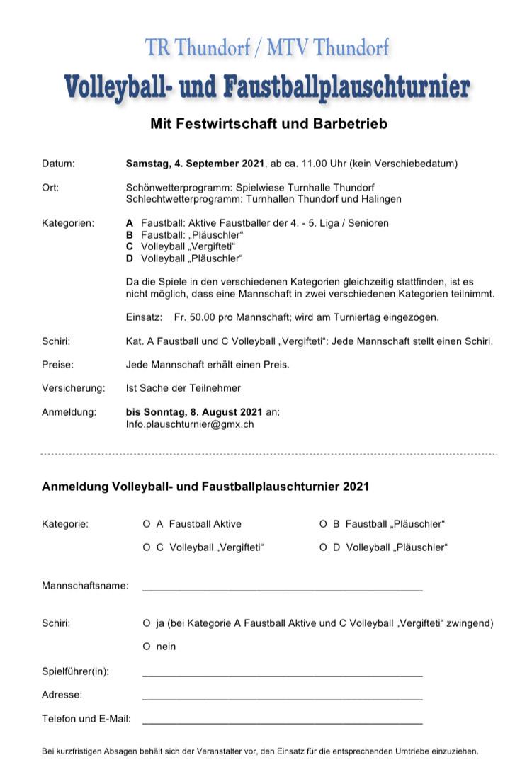 Anmeldung Volleyball- und Faustballplauschturnier