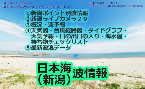 日本海(越後) 波情報 ポイント別波情報、ライブカメラ、最新波浪情報、天気予報、タイドグラフ、無料波予報、文字情報、天気図 サーファーズオーシャン