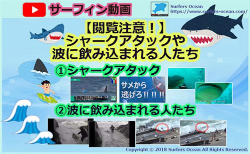 サーフィン動画 【閲覧注意!】シャークアタックや波に飲み込まれる人達 サーファーズオーシャン SurfersOcean