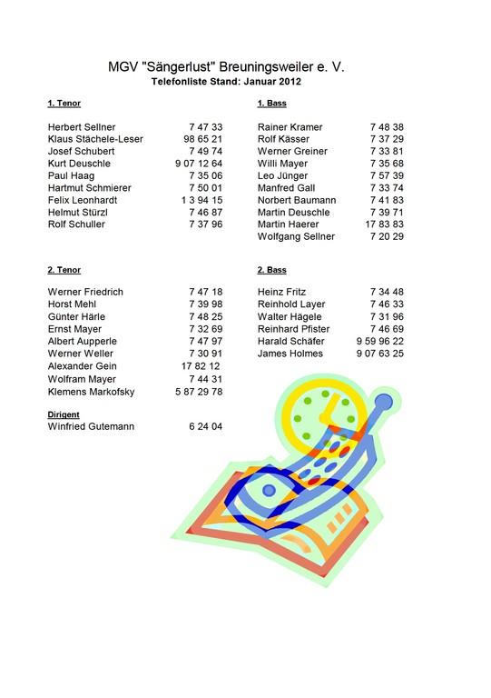 MGV Aktive - Telefonliste