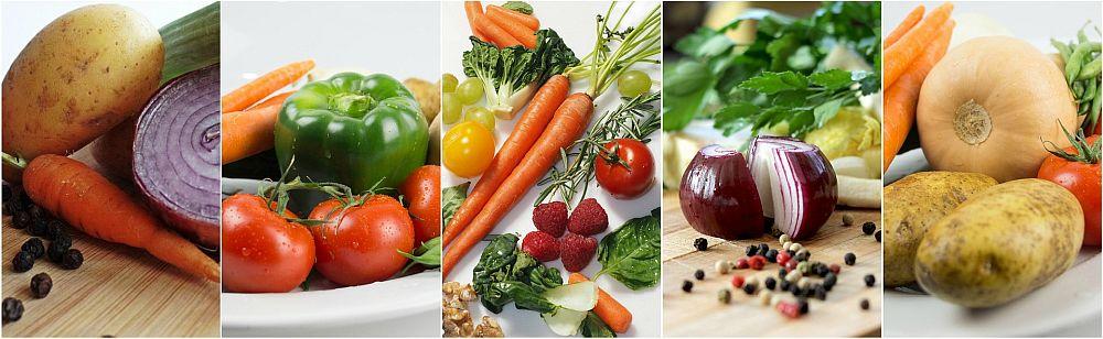 Allerlei an marktfrischem Gemüse, Gewürzen und Obst