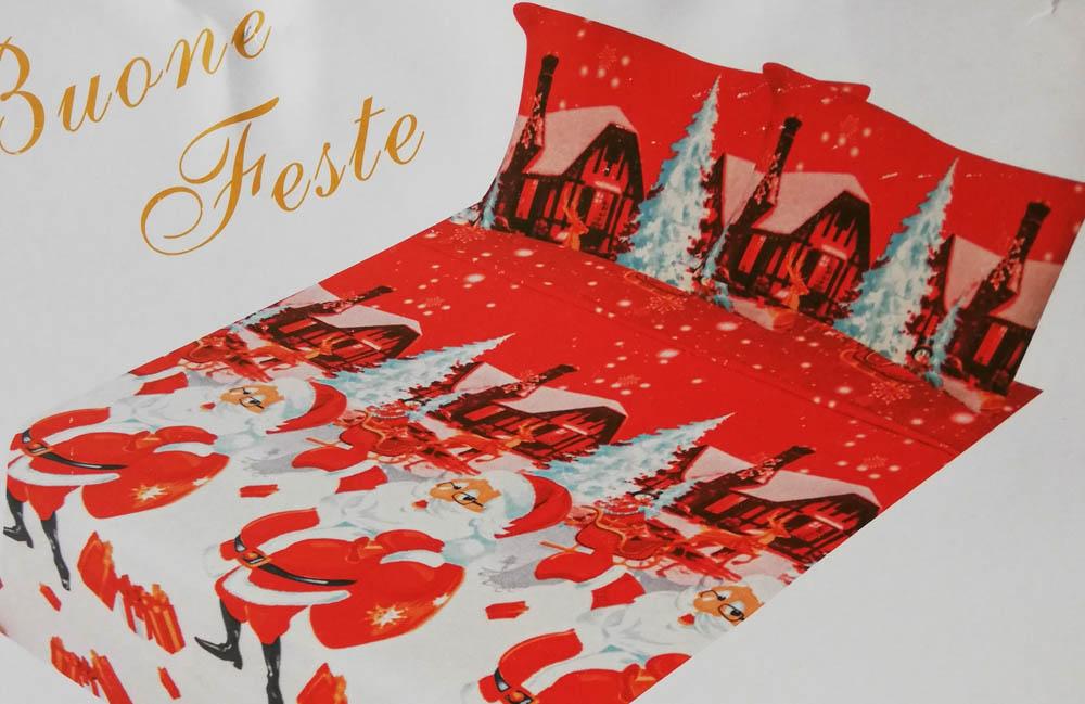 Set lenzuola in pile con stampa digitale 3D natalizia matrimoniale. Dis. Babbo Natale. B663_