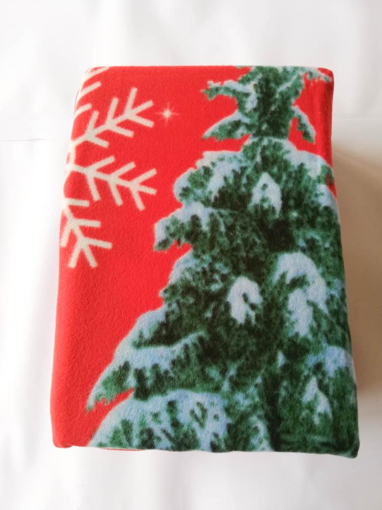 Set lenzuola in pile con stampa digitale 3D natalizia matrimoniale. Dis. Albero di Natale con Babbo Natale. B667_