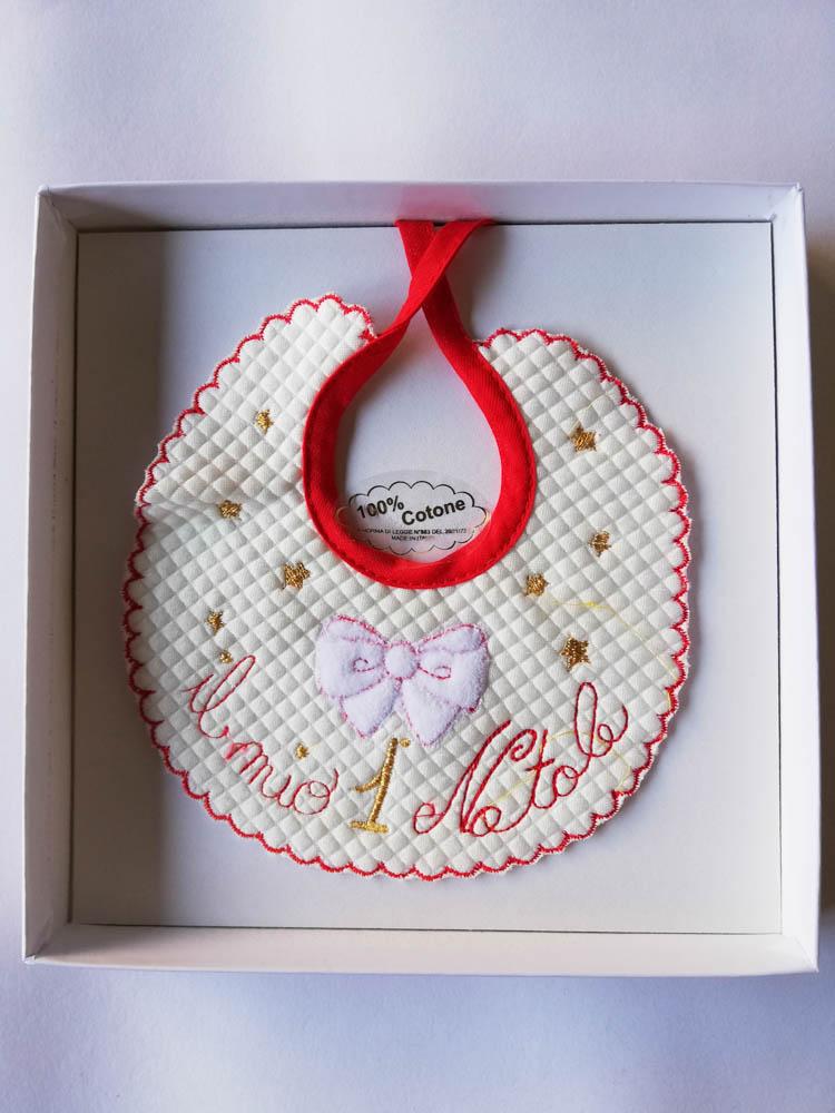 """Bavetta natalizia di cotone con ricamo """"Il mio 1 Natale"""". C105_"""