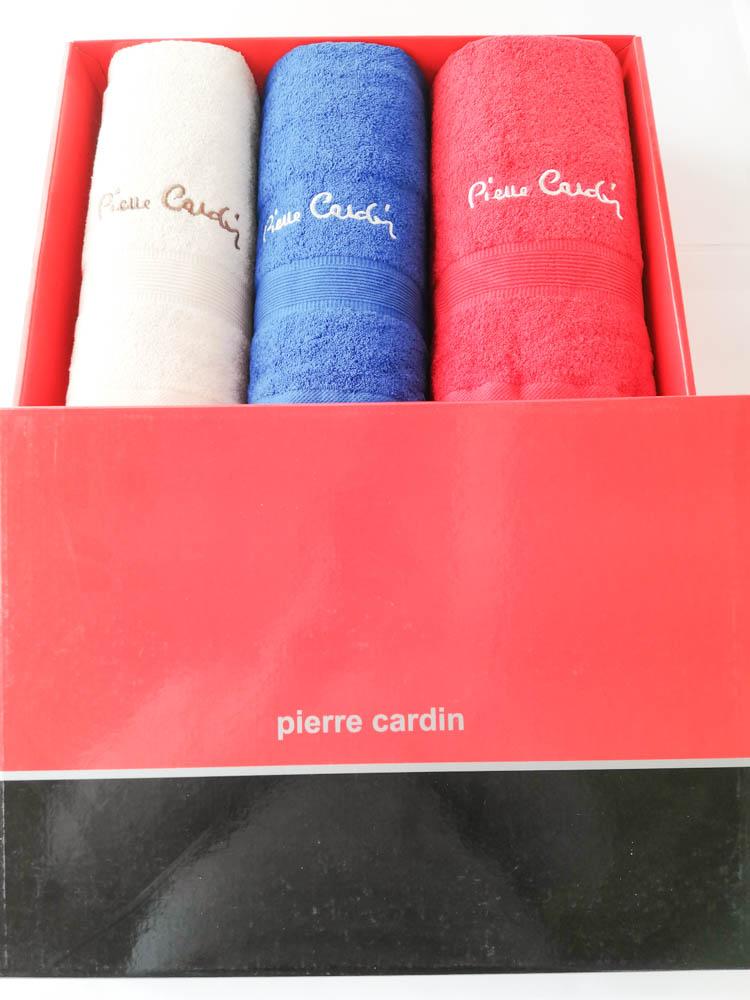 Set 3+3 asciugamani viso e ospite di Pierre Cardin. Art.Basic in spugna. Col: Beige-Roial-Rosso. B51