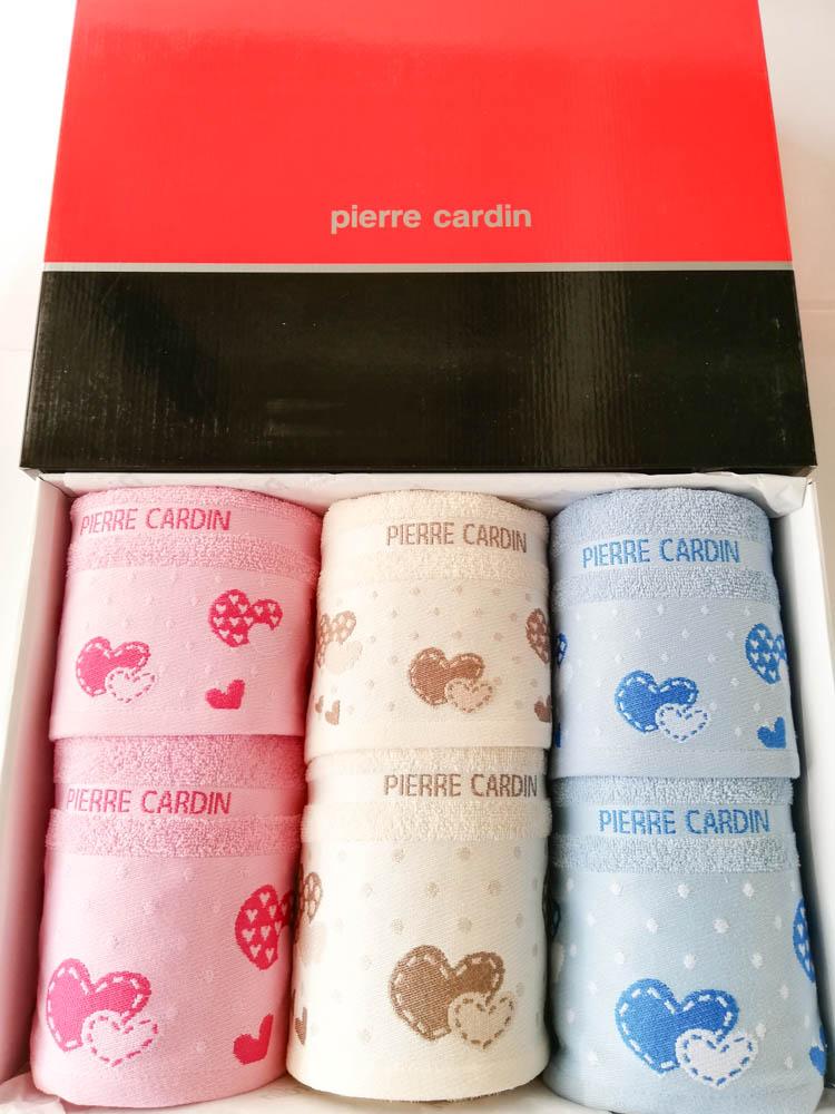 Set 3+3 asciugamani viso e ospite Pierre Cardin in spugna. Art.Love. Col: Rosa-panna-celeste. B519