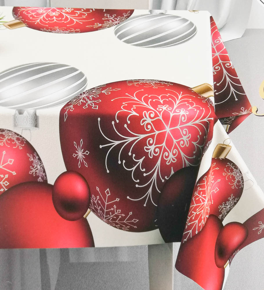 Tovaglia o copritavola natalizia con stampa digitale 3D per 18 persone 140x360 cm. B662