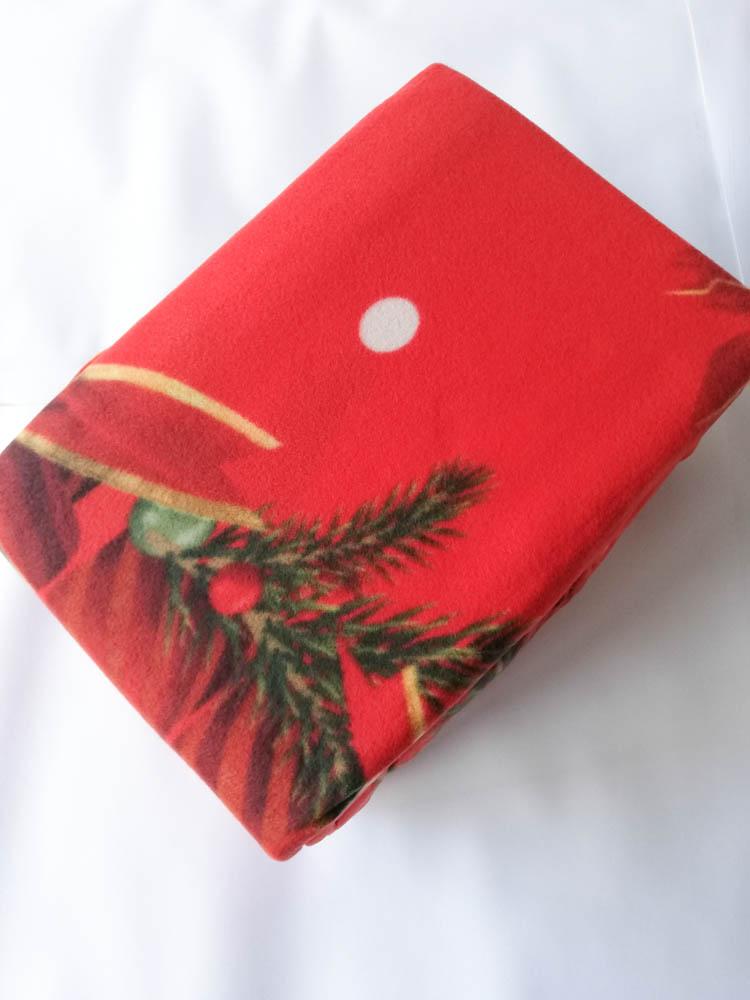 Set lenzuola in pile con stampa digitale 3D natalizia matrimoniale. Dis. Candele Natalizie . B664_