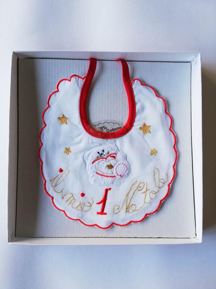 """Bavetta natalizia di cotone con ricamo """"Il mio 1 Natale"""". C103_"""