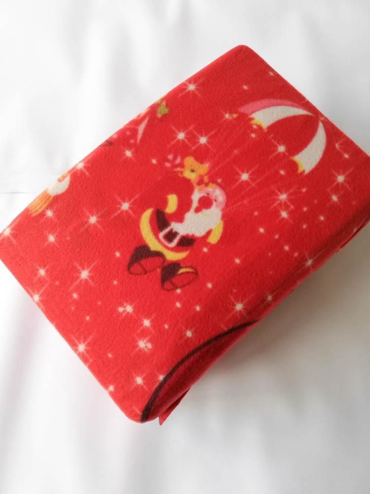 Set lenzuola in pile con stampa digitale 3D natalizia matrimoniale. Dis. Babbo Natale con doni. B665_