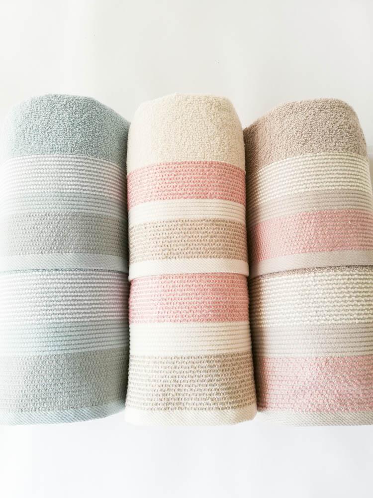 Set 3+3 asciugamani viso e ospite di Maestri Cotonieri . Art.Corda in spugna. Col: Verde acqua-Panna-Tortora. B521