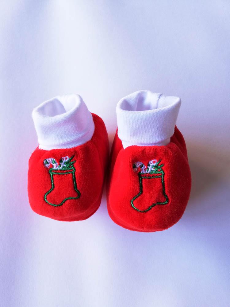 Scarpina neonato natalizio ricamato. C100