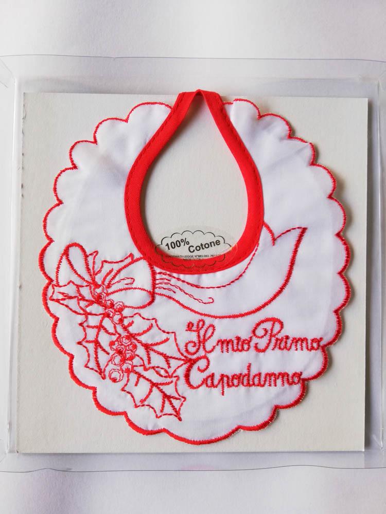 """Bavetta natalizia di cotone con ricamo """"Il mio 1 Natale"""". C110_"""