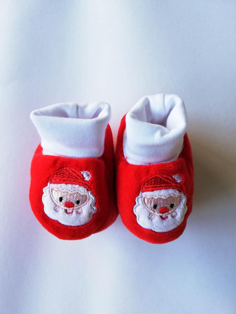 Scarpina neonato natalizio ricamato. C101__