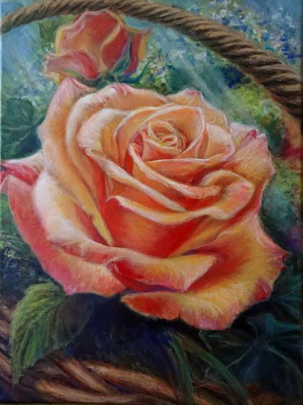 2019 Rose im Korb, 30x40 cm, Acryl auf Leinwand, 98 Euro