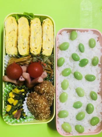 ※今日は枝豆だらけの(*´艸`*)ァハ♪ ドット模様のお弁当www