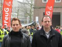 FDP-Ratsmitglieder Dennis Rademacher und Felix Haltt auf der Demo