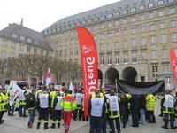 Demonstration auf dem Ratshausvorplatz