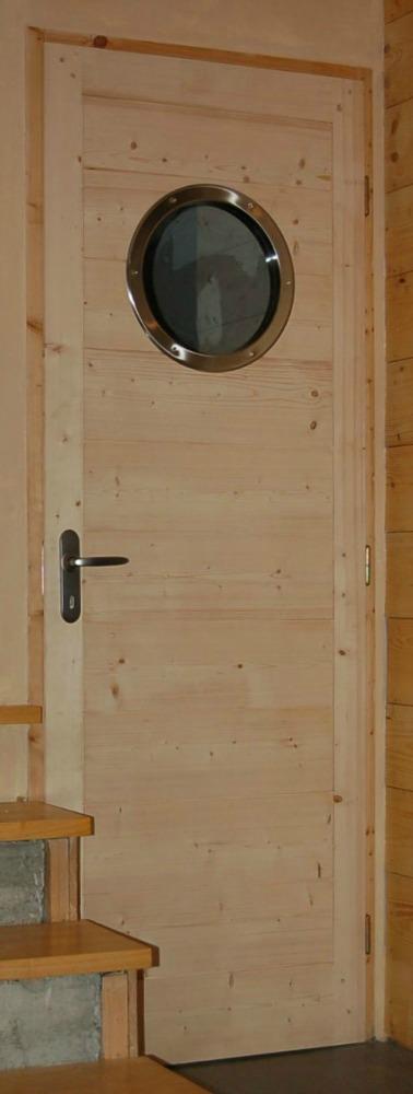 Porte intérieure en Sapin avec hublot
