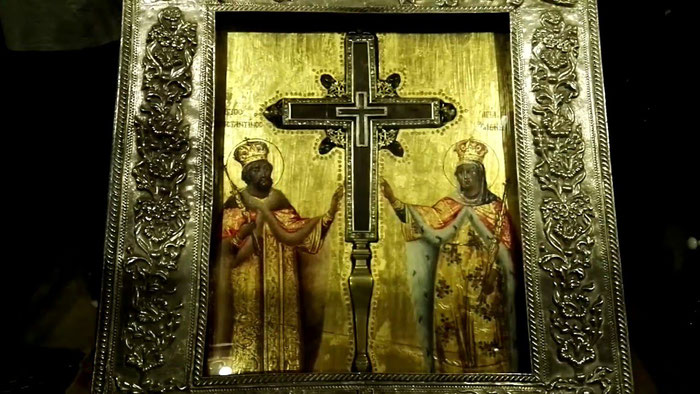 Die Heilig-Kreuz-Reliquie, die heute in der Schatzkammer der Anastasis-Kirche von den Orthodoxen aufbewahrt wird.