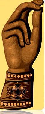orthodoxe Fingerhaltung der rechten Hand beim Bekreuzigen.