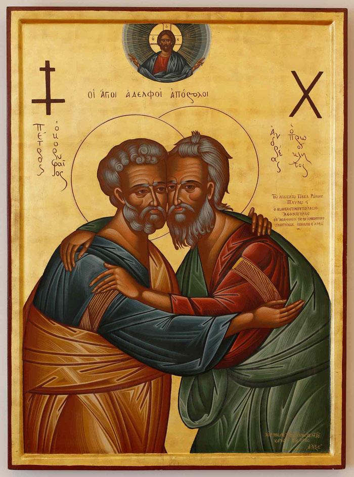Synaxis der Heiligen Apostel Andreas und Petrus.