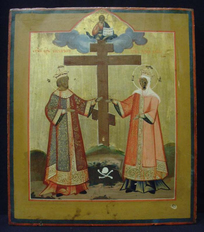 Ikone mit den Heiligen Kaisern Konstantin und Helena und dem Heiligen Kreuz.