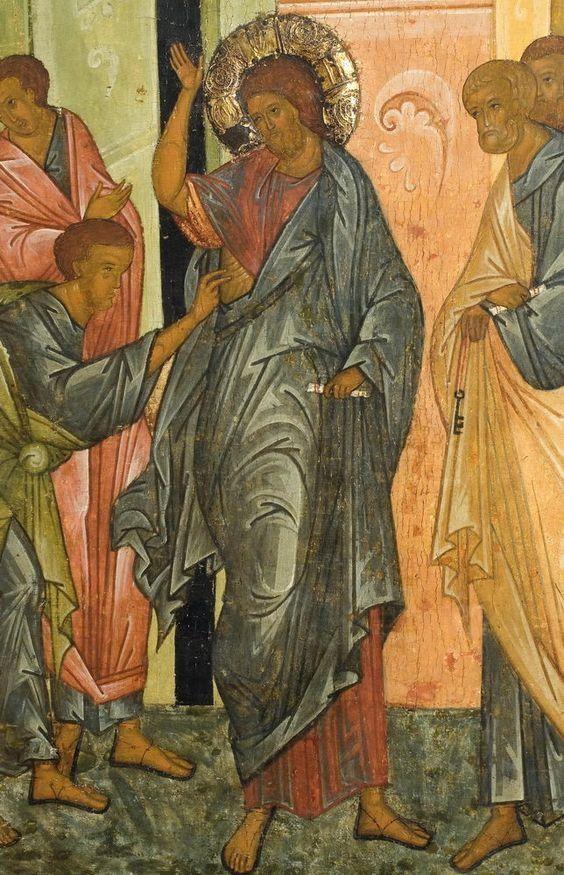 Der Unglaube des Thomas. Detail einer russischen Ikone. 15. Jhd.