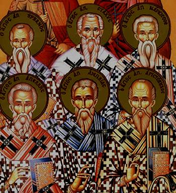 Auschnitt einer Ikone der Synaxis der 70 heiligen Apostel - der heilige Stachys ist in der oberen Reihe in der Mitte abgebildet.