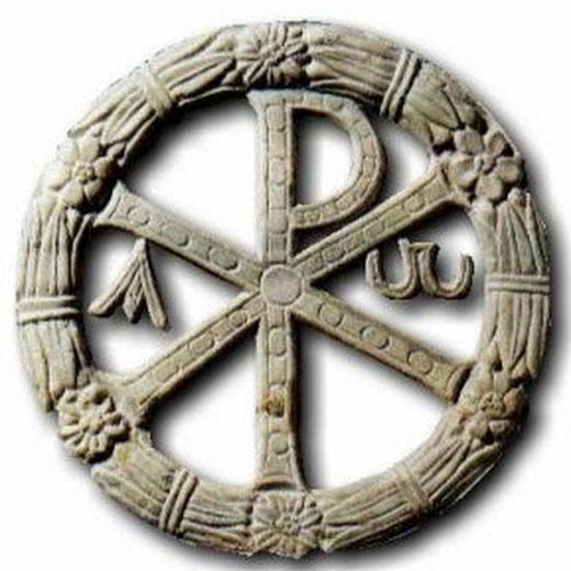 Das Christogramm, das der heilige apostelgleiche Kaiser Konstantin auf den Schilden seiner Soldaten anbringen ließ.