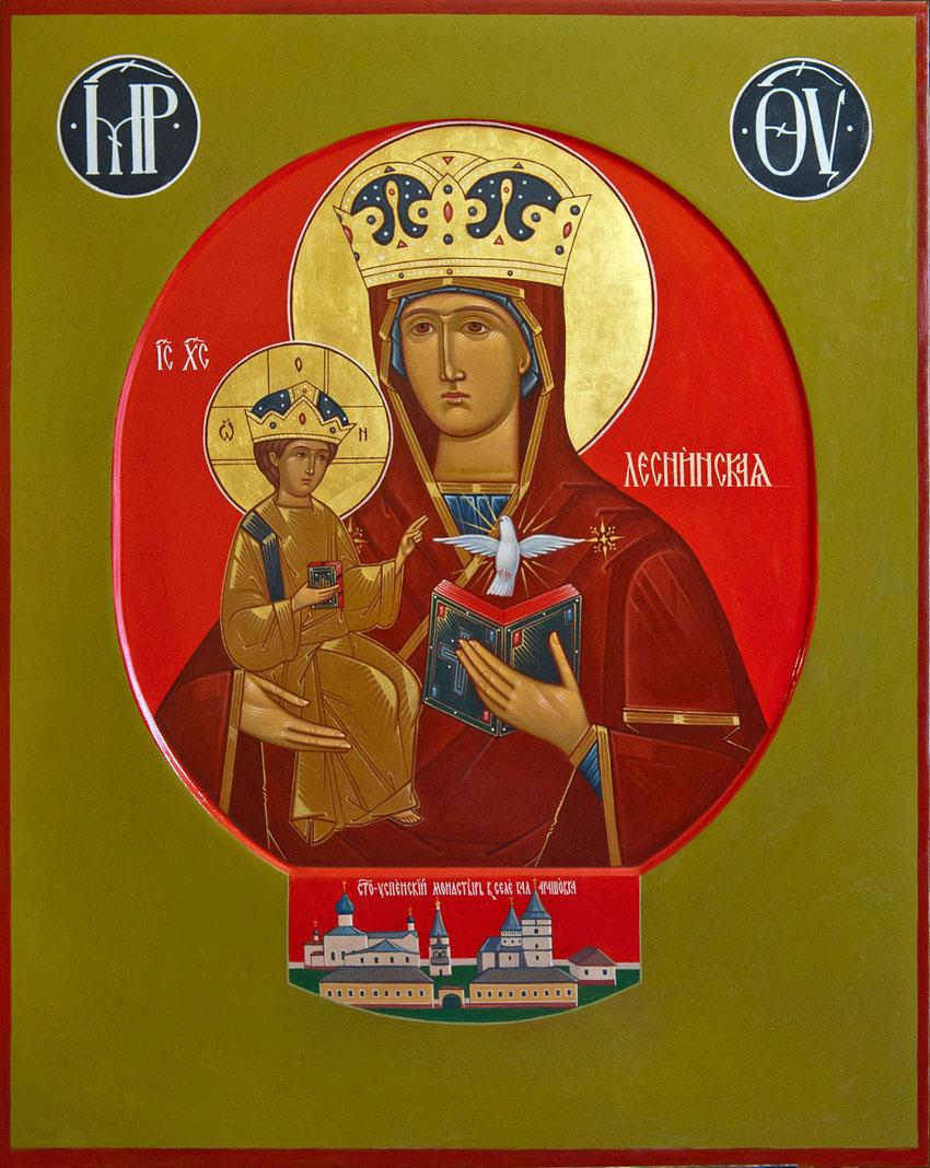 Zeitgenössische russische Ikonde der Gottesmutter von Lesna.