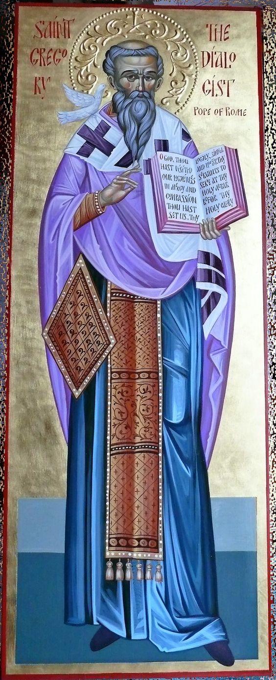Der heilige Gregor Dialogos, Erzbischof und Papst von Alt-Rom - von diesem Heiligen stammen die priesterlichen Gebete in der Liturgie der vorgeweihten Gaben.