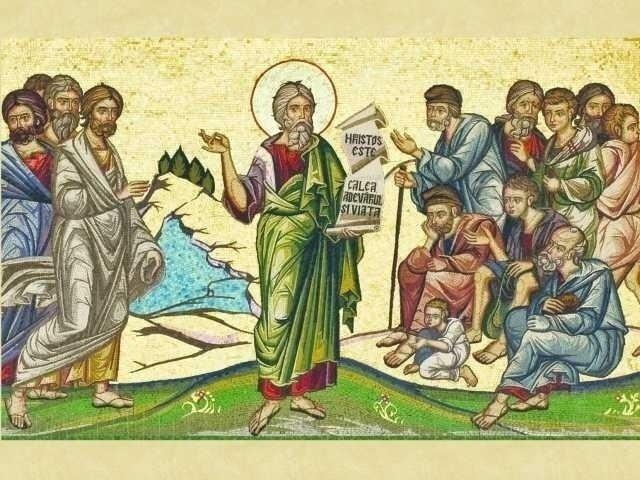 Moderne rumänische Mosaik-Ikone: Der heilige Apostel Andreas predigt das Evangelium den Romano-Dakern.