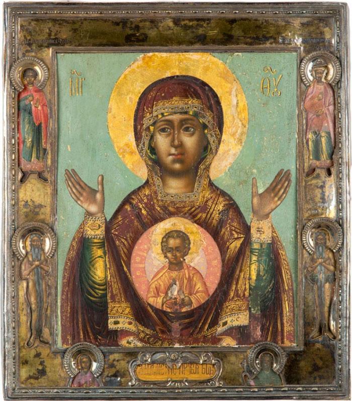 """Ikone der allheiligen Gottesgebärerin """"vom Zeichen"""": """"Und das Wort (Logos) ist Fleisch geworden und hat unter uns gewohnt"""" (Johannes 1:14)"""