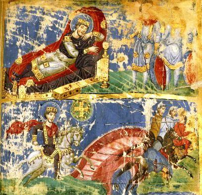 Die Vision des heiligen Konstantin. Buchmalerei in einem byzantinischen Mauskript.
