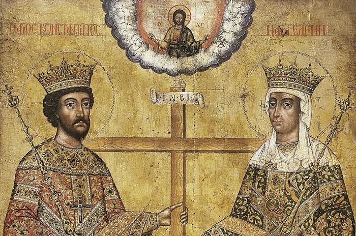 Die heiligen, apostelgleichen Kaiser Konstantin und Helena mit dem heiligen Kreuz. Ikone des 18. Jahrhunderts.