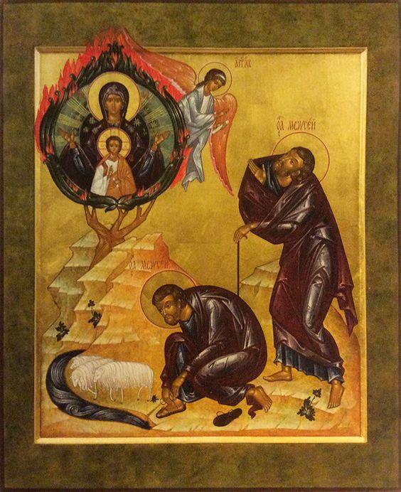 Ikone des nichtverbrennbaren Dornbuschs - in der orthodoxen Kirche ist der unverbrennbare Dornbusch ein alttestamentlicher Typos für die Immerjungfräulichkeit der Allheiligen Gottesgebärerin.