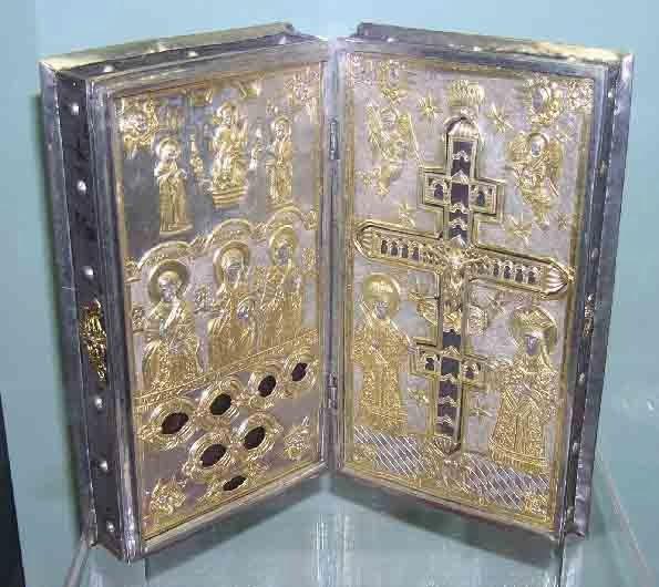Die Heilig-Kreuz-Reliquie, die der Heilige Johannes Chrsostomos als Patriarch von Konstantinopel aufbewahrt hat.