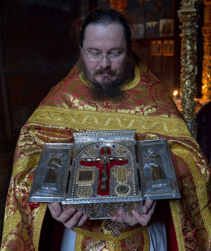 Die Heilig-Kreuz-Reliquie aus Arnaia in Griechenland/ Makedonien.