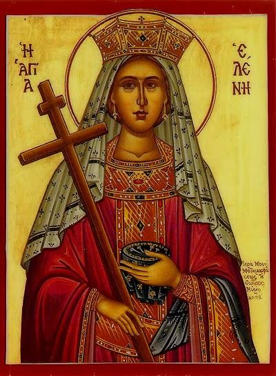 Diese Ikone zeigt die apostelgleiche, heilige Kaiserin-Mutter Helena mit der Heilig-Kreuz-Reliquie und den Heiligen Nägeln.