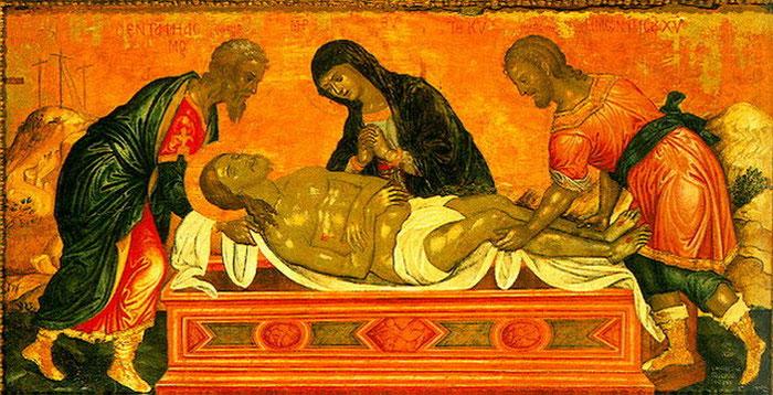 Die Heiligen Joseph von Arimathäa (links) und Nikodmus (rechts) mit der allheiligen Gottesgebärerin beim Begräbnis des Herrn