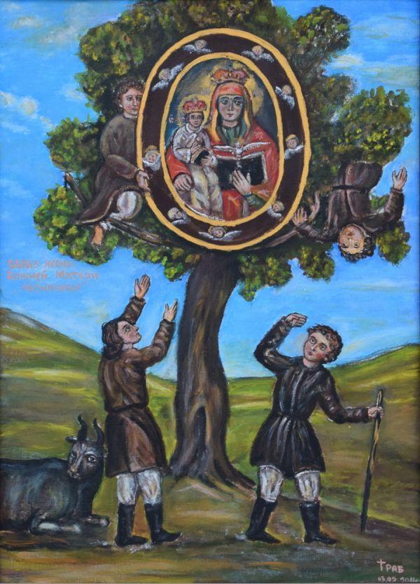 Die Hirten Alexander Stelmaščuk und Miron Makaruk finden die Ikone der Gottesmutter von Lesna in einem Birnbaum.