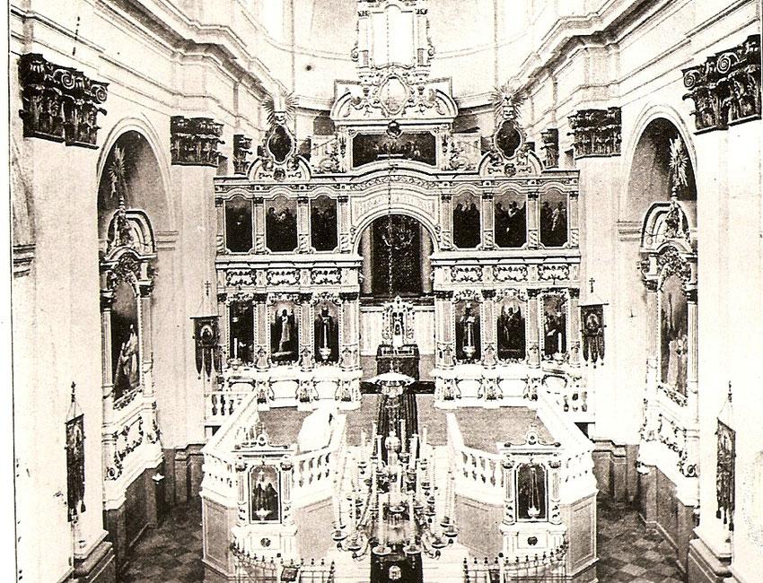 Blick in das Innere der orthodoxen Kreuz-Erhöhungs-Kathedrale in Lesna vor den Ersten Weltkrieg.