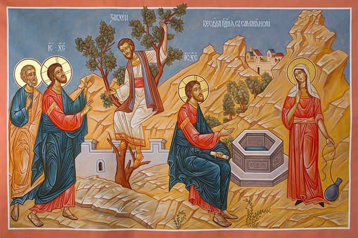 Zwei Menschen deren Sehnsucht nach bedingungsloser Annnahme Christus gestillt hat: Zachäus und Photini, die samaritanische Frau am Jakobsbrunnen.