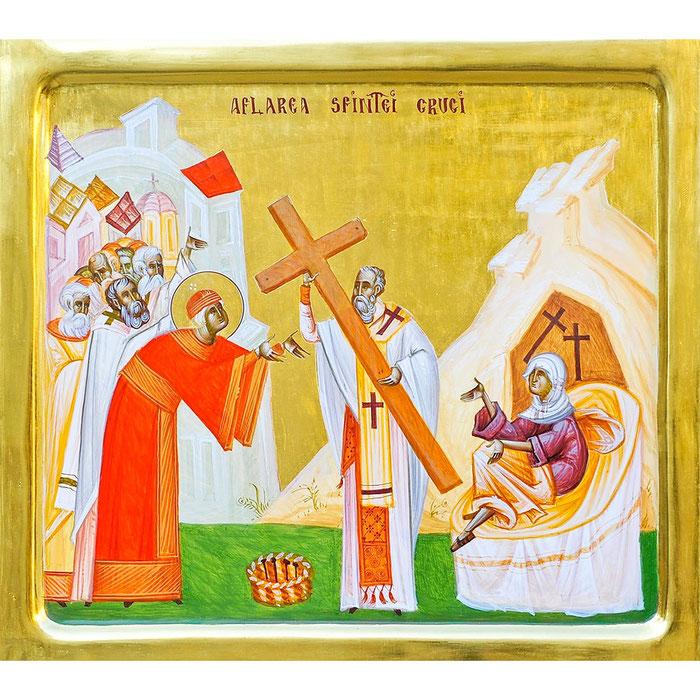 Zeitgenössische rumänische Ikone: Das heilige und lebenssschffende Kreuz wird nach seiner Auffindung der sterbenskranken Frau aufgelegt, wodurch diese geheilt wird.