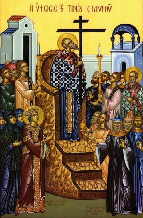 Der Heilige Makarius segnet das rechtgläubige Volk mit der Heilig-Kreuz-Relique. Ikone des Festes Kreuzerhöhung (14. September).