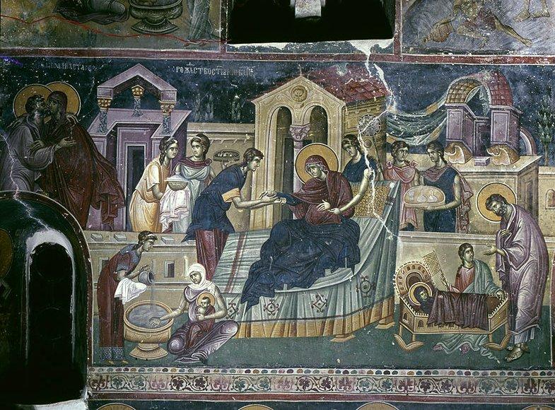 Fresco- Ikone Geburt der Gottesmutter, Studenica- Kloster, Serbien (12. Jahrhundert).