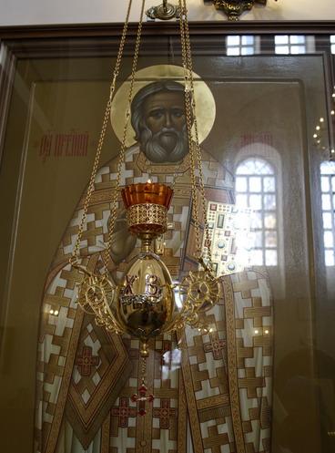 Ikone des heiligen Alexej von Ugine in seiner Pfarrkirche in Vruda.