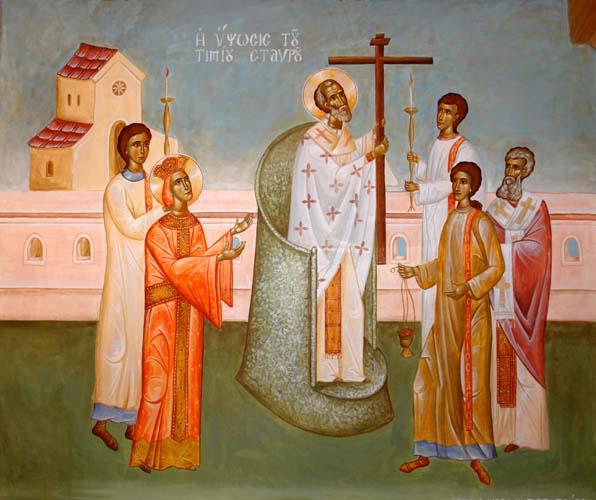 Der heilige Patriarch Markarios erhebt das heilige und lebensspendende Kreuz.